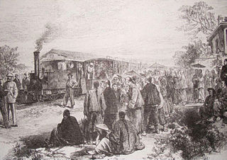Opening of the first railway in China<br>from Shanghai to Woosung Port, 1876