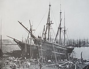 Repair work on wooden ships, approx. 1865<br>Hamburg