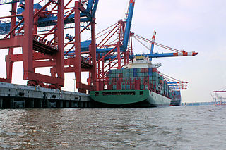 Container ship at dock<br>Hamburg