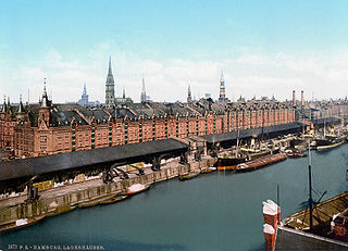 The Speicherstadt in Hamburg around 1890