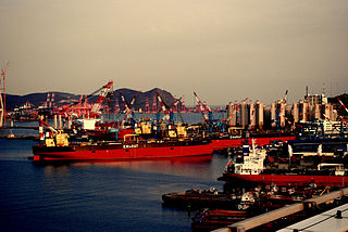 Ships in the Port of Busan