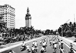 Bicycles riding north on Biscayne Boulevard<br>Circa 1940